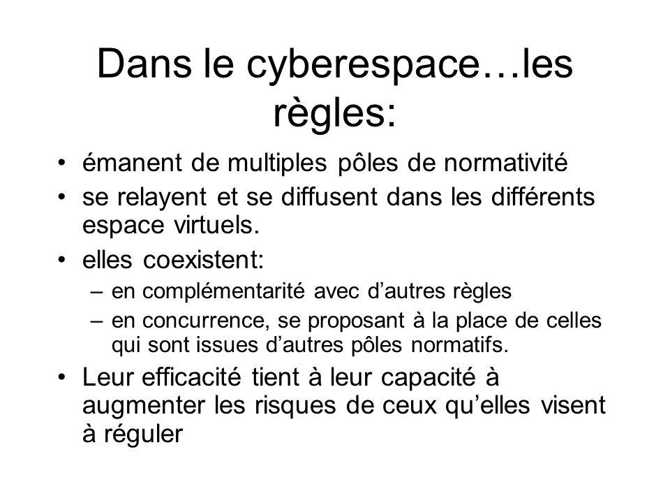 Dans le cyberespace…les règles: émanent de multiples pôles de normativité se relayent et se diffusent dans les différents espace virtuels.