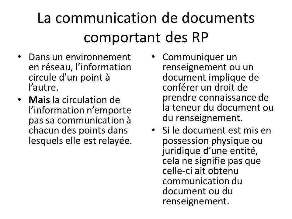 La communication de documents comportant des RP Dans un environnement en réseau, linformation circule dun point à lautre.