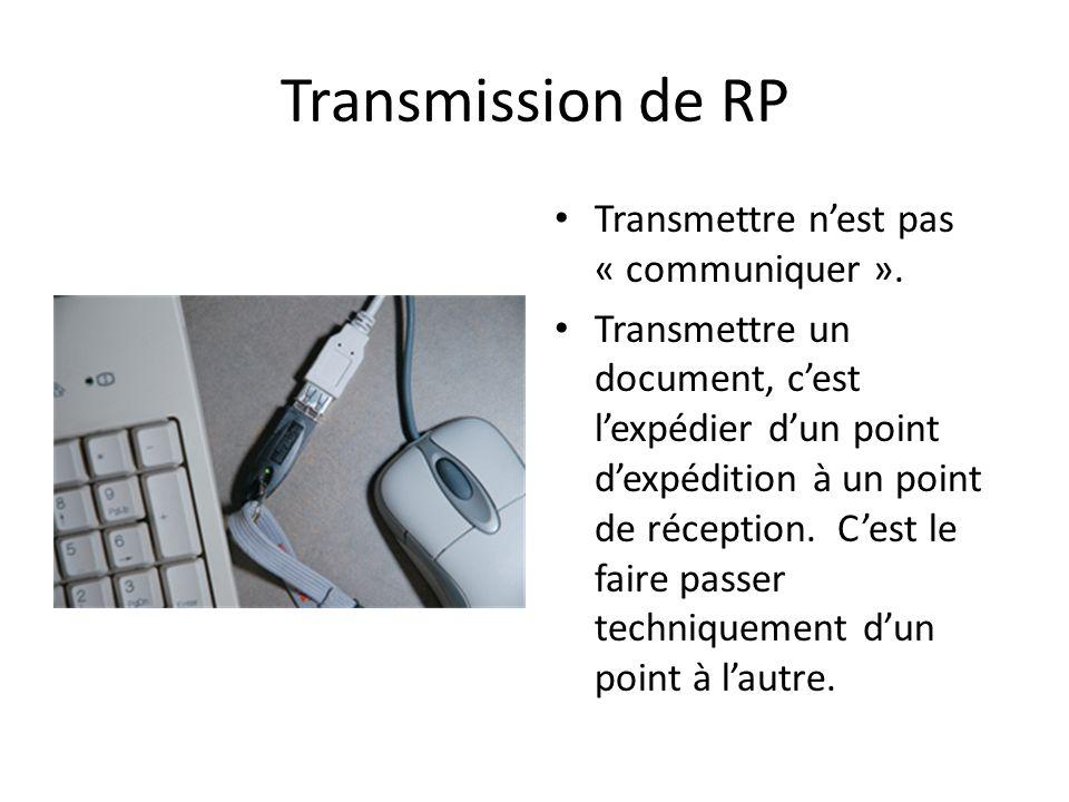 Transmission de RP Transmettre nest pas « communiquer ».