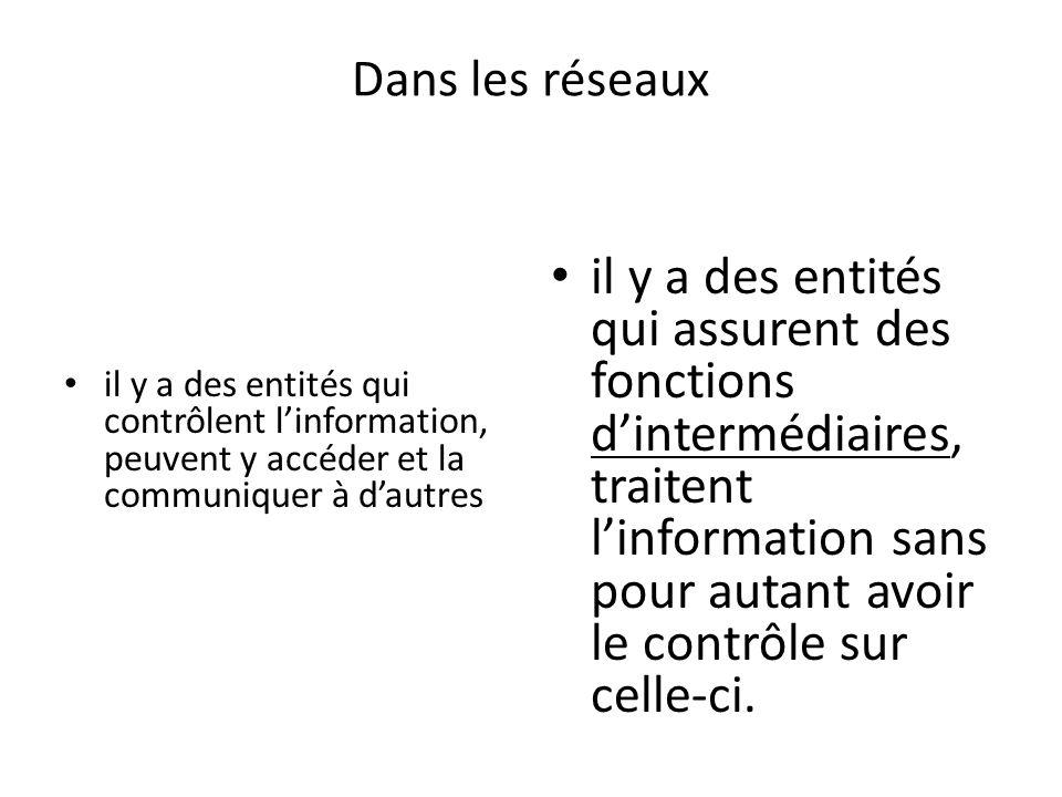 Conclusion Les obligations en matière de PRP diffèrent selon quune entité exerce une fonction de contrôle des renseignements personnels – utilise les renseignements OU une fonction dintermédiaire – nutilise pas les renseignements, ni na le contrôle