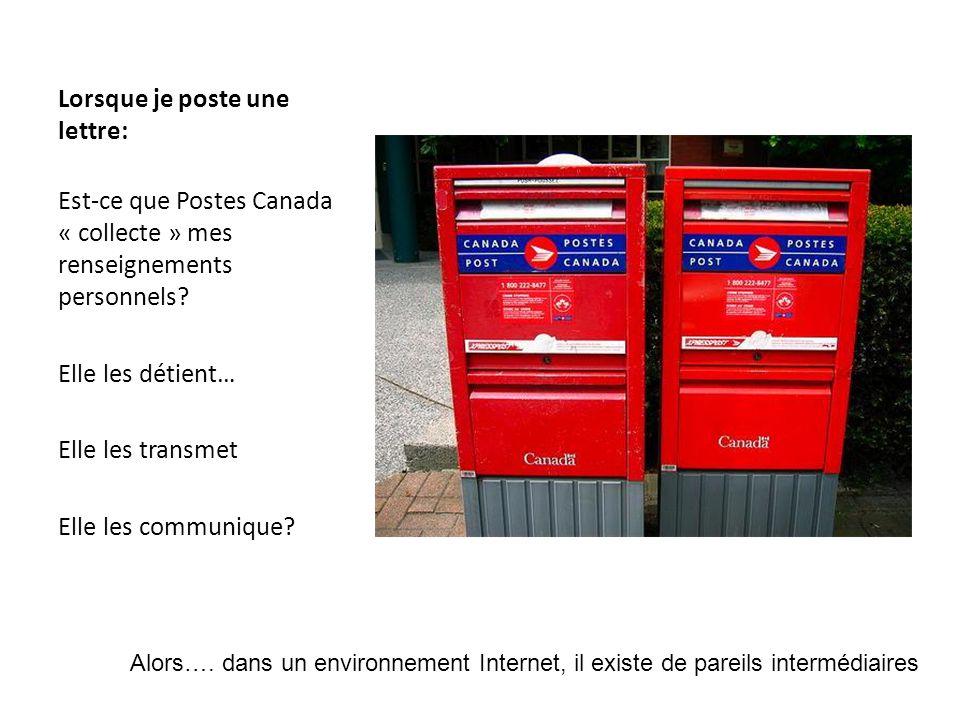 Lorsque je poste une lettre: Est-ce que Postes Canada « collecte » mes renseignements personnels.
