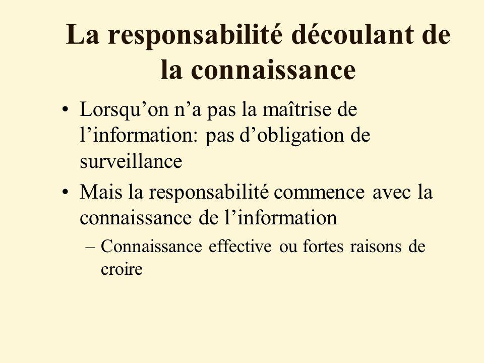 La responsabilité découlant de la connaissance Lorsquon na pas la maîtrise de linformation: pas dobligation de surveillance Mais la responsabilité commence avec la connaissance de linformation –Connaissance effective ou fortes raisons de croire