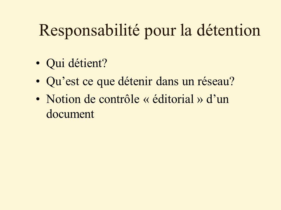 Responsabilité pour la détention Qui détient. Quest ce que détenir dans un réseau.