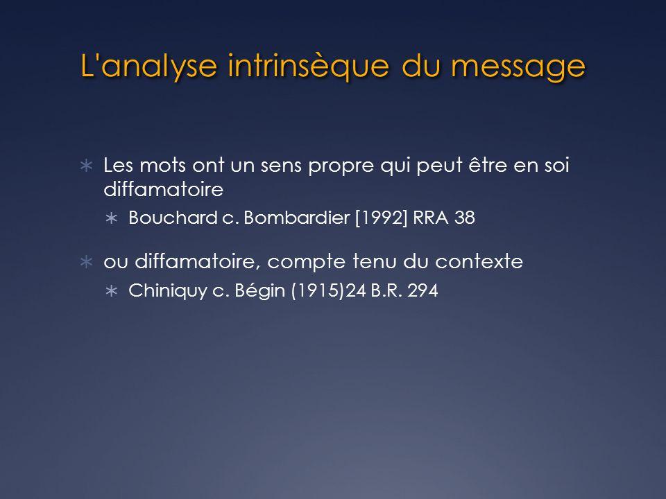 L analyse intrinsèque du message Les mots ont un sens propre qui peut être en soi diffamatoire Bouchard c.