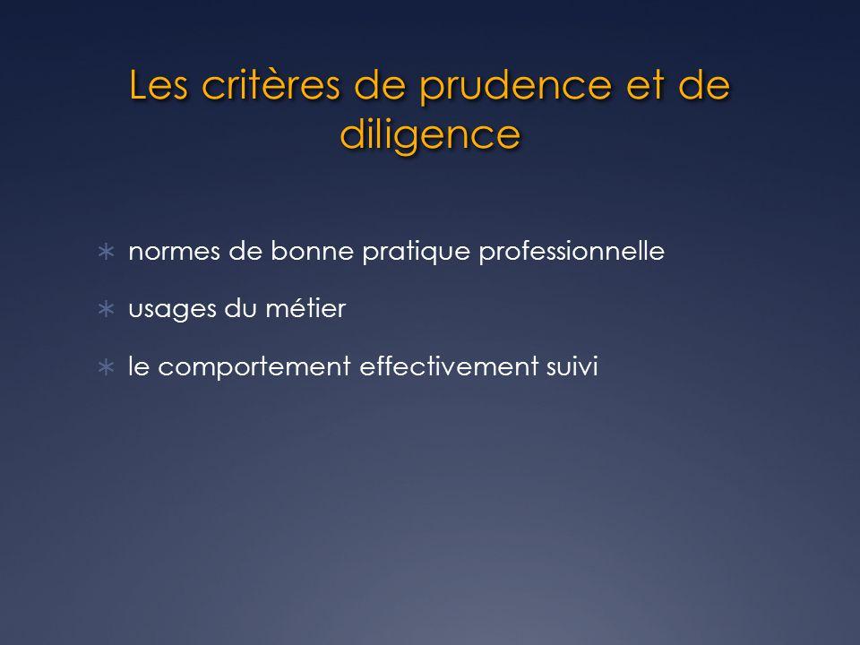 Les critères de prudence et de diligence normes de bonne pratique professionnelle usages du métier le comportement effectivement suivi
