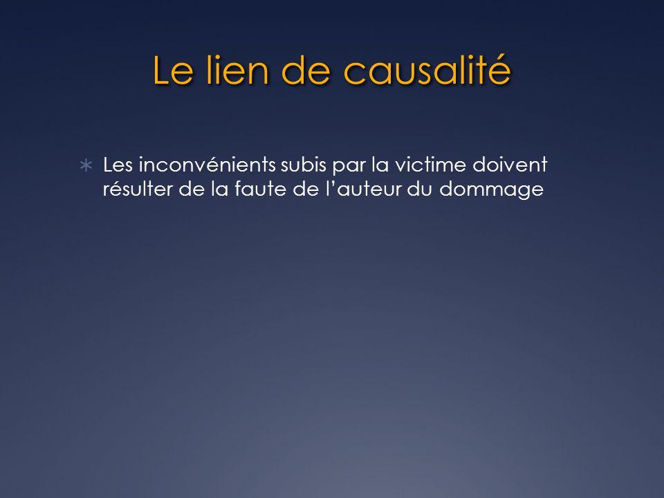 Le lien de causalité Les inconvénients subis par la victime doivent résulter de la faute de lauteur du dommage