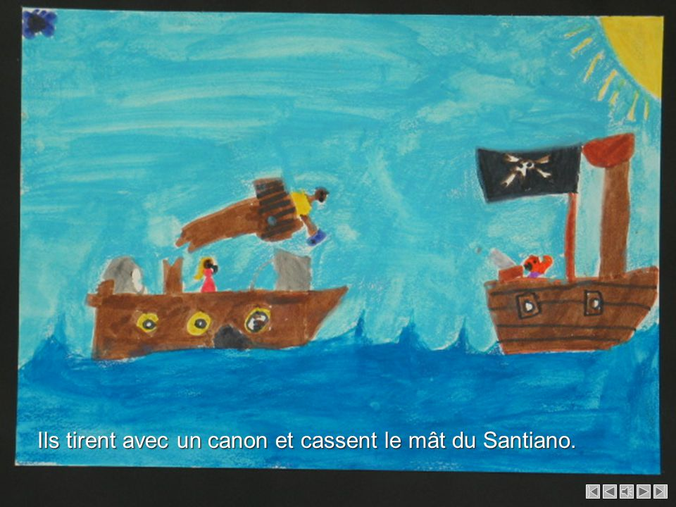 Des pirates arrivent et attaquent le bateau pour dévaliser les occupants. Des pirates arrivent et attaquent le bateau pour dévaliser les occupants.