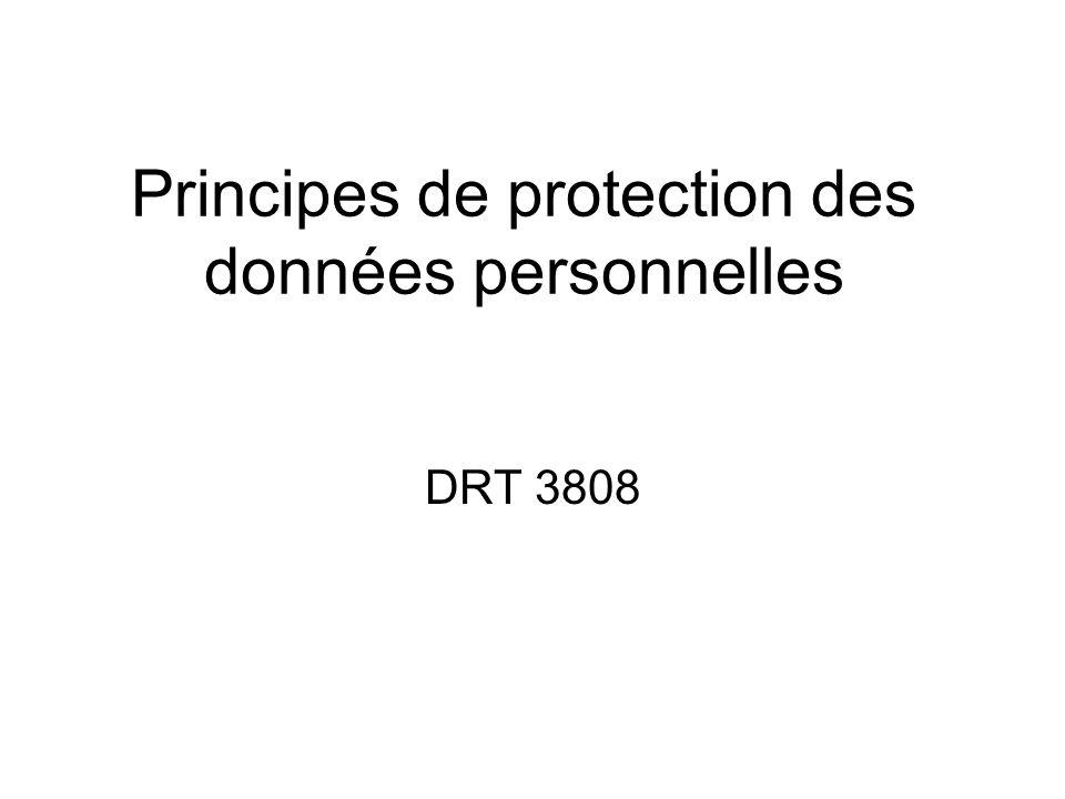 Principes de protection des données personnelles DRT 3808