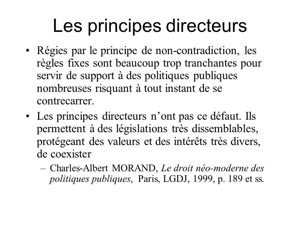 Les principes directeurs Régies par le principe de non-contradiction, les règles fixes sont beaucoup trop tranchantes pour servir de support à des pol