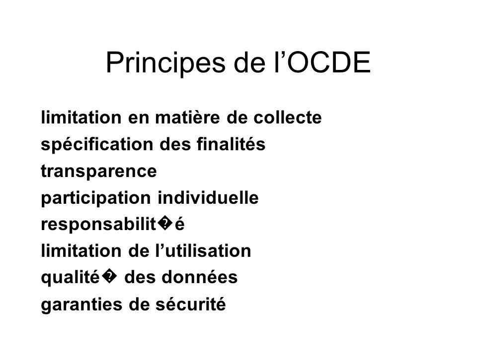 Principes de lOCDE limitation en matière de collecte spécification des finalités transparence participation individuelle responsabilit é limitation de