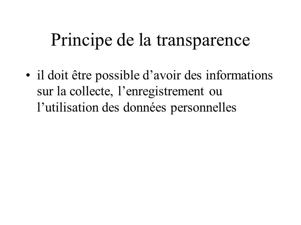 Principe de la transparence il doit être possible davoir des informations sur la collecte, lenregistrement ou lutilisation des données personnelles