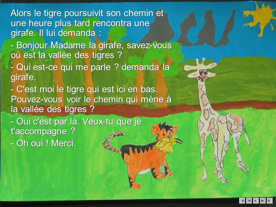 Les tigres offrirent de grands cadeaux à la panthère et à la girafe pour les remercier d avoir aidé bébé tigre à retrouver son chemin.