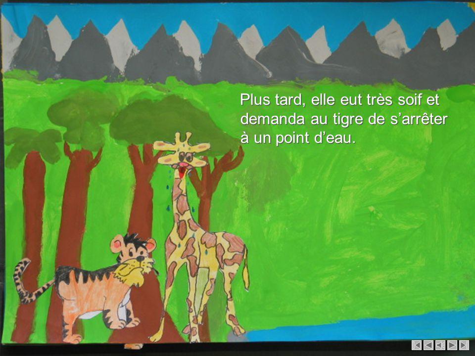Tout en marchant, bébé tigre admirait le paysage, les jolies montagnes. C'était midi. Il faisait très chaud, la girafe transpirait beaucoup. Tout en m