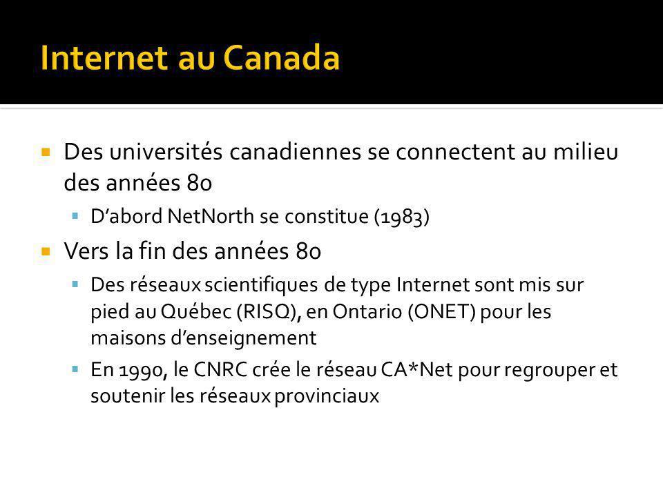 Des universités canadiennes se connectent au milieu des années 80 Dabord NetNorth se constitue (1983) Vers la fin des années 80 Des réseaux scientifiques de type Internet sont mis sur pied au Québec (RISQ), en Ontario (ONET) pour les maisons denseignement En 1990, le CNRC crée le réseau CA*Net pour regrouper et soutenir les réseaux provinciaux