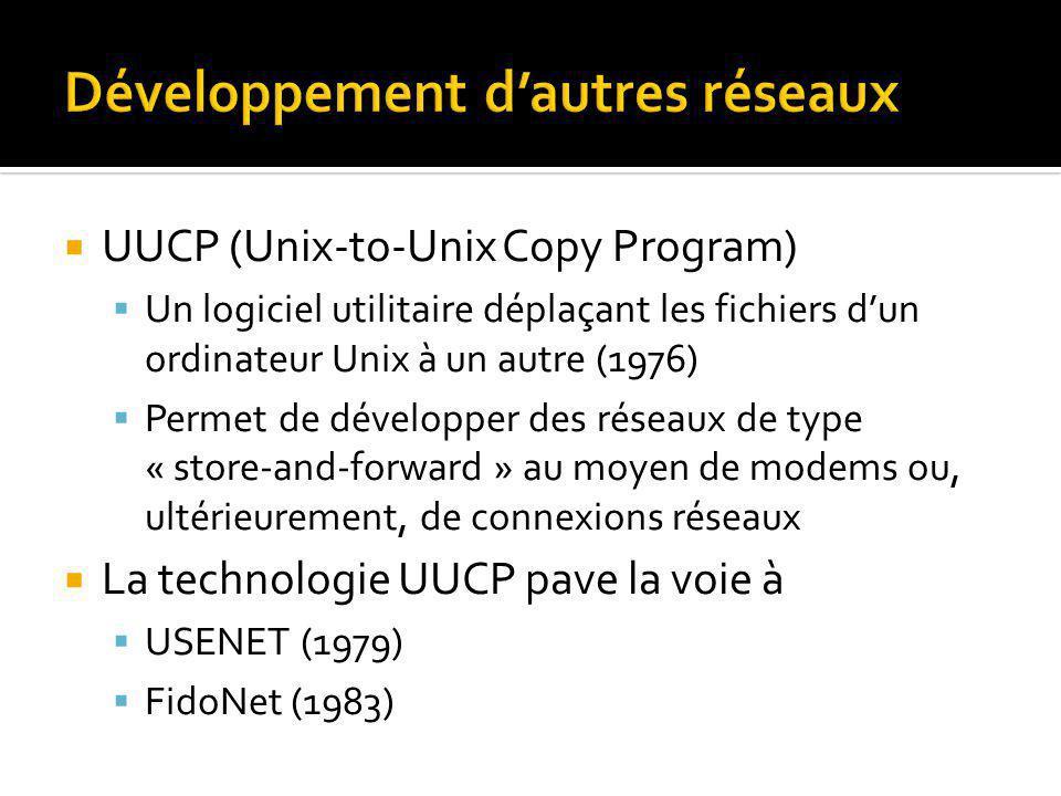 UUCP (Unix-to-Unix Copy Program) Un logiciel utilitaire déplaçant les fichiers dun ordinateur Unix à un autre (1976) Permet de développer des réseaux de type « store-and-forward » au moyen de modems ou, ultérieurement, de connexions réseaux La technologie UUCP pave la voie à USENET (1979) FidoNet (1983)