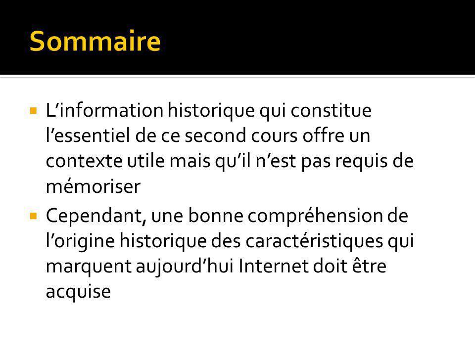 Arpanet (1958-1986) Internet, le réseau de la recherche (1981-1992) Internet grand public (1992-2001) Internet aujourdhui