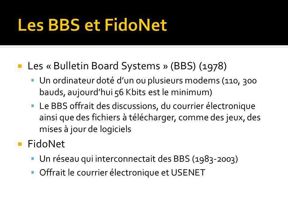 Les « Bulletin Board Systems » (BBS) (1978) Un ordinateur doté dun ou plusieurs modems (110, 300 bauds, aujourdhui 56 Kbits est le minimum) Le BBS offrait des discussions, du courrier électronique ainsi que des fichiers à télécharger, comme des jeux, des mises à jour de logiciels FidoNet Un réseau qui interconnectait des BBS (1983-2003) Offrait le courrier électronique et USENET