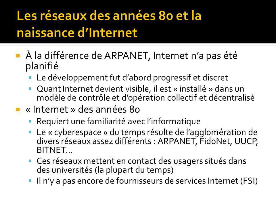 À la différence de ARPANET, Internet na pas été planifié Le développement fut dabord progressif et discret Quant Internet devient visible, il est « installé » dans un modèle de contrôle et dopération collectif et décentralisé « Internet » des années 80 Requiert une familiarité avec linformatique Le « cyberespace » du temps résulte de lagglomération de divers réseaux assez différents : ARPANET, FidoNet, UUCP, BITNET… Ces réseaux mettent en contact des usagers situés dans des universités (la plupart du temps) Il ny a pas encore de fournisseurs de services Internet (FSI)