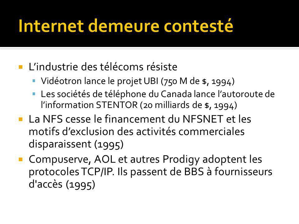 Lindustrie des télécoms résiste Vidéotron lance le projet UBI (750 M de $, 1994) Les sociétés de téléphone du Canada lance lautoroute de linformation STENTOR (20 milliards de $, 1994) La NFS cesse le financement du NFSNET et les motifs dexclusion des activités commerciales disparaissent (1995) Compuserve, AOL et autres Prodigy adoptent les protocoles TCP/IP.