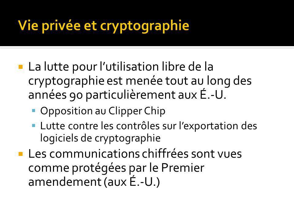 La lutte pour lutilisation libre de la cryptographie est menée tout au long des années 90 particulièrement aux É.-U.