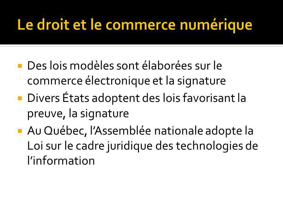 Des lois modèles sont élaborées sur le commerce électronique et la signature Divers États adoptent des lois favorisant la preuve, la signature Au Québec, lAssemblée nationale adopte la Loi sur le cadre juridique des technologies de linformation