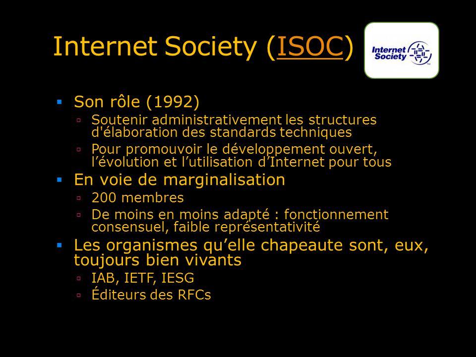 Internet Society (ISOC)ISOC Son rôle (1992) Soutenir administrativement les structures d'élaboration des standards techniques Pour promouvoir le dével
