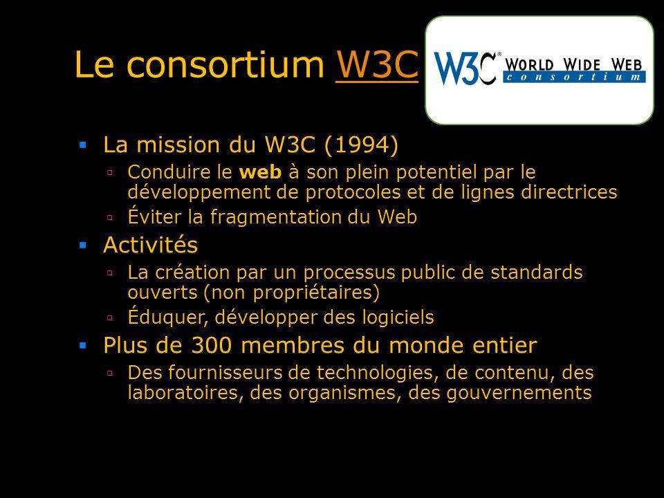 Le consortium W3CW3C La mission du W3C (1994) Conduire le web à son plein potentiel par le développement de protocoles et de lignes directrices Éviter