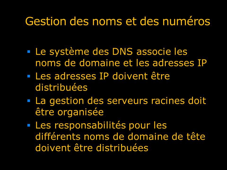 Le système des DNS associe les noms de domaine et les adresses IP Les adresses IP doivent être distribuées La gestion des serveurs racines doit être o