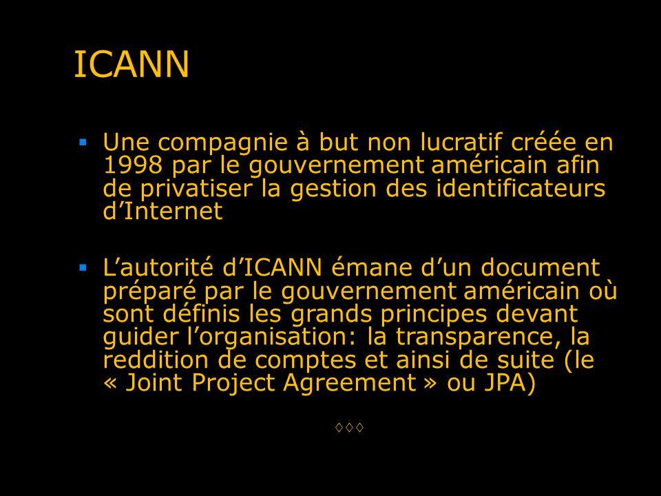ICANN Une compagnie à but non lucratif créée en 1998 par le gouvernement américain afin de privatiser la gestion des identificateurs dInternet Lautori