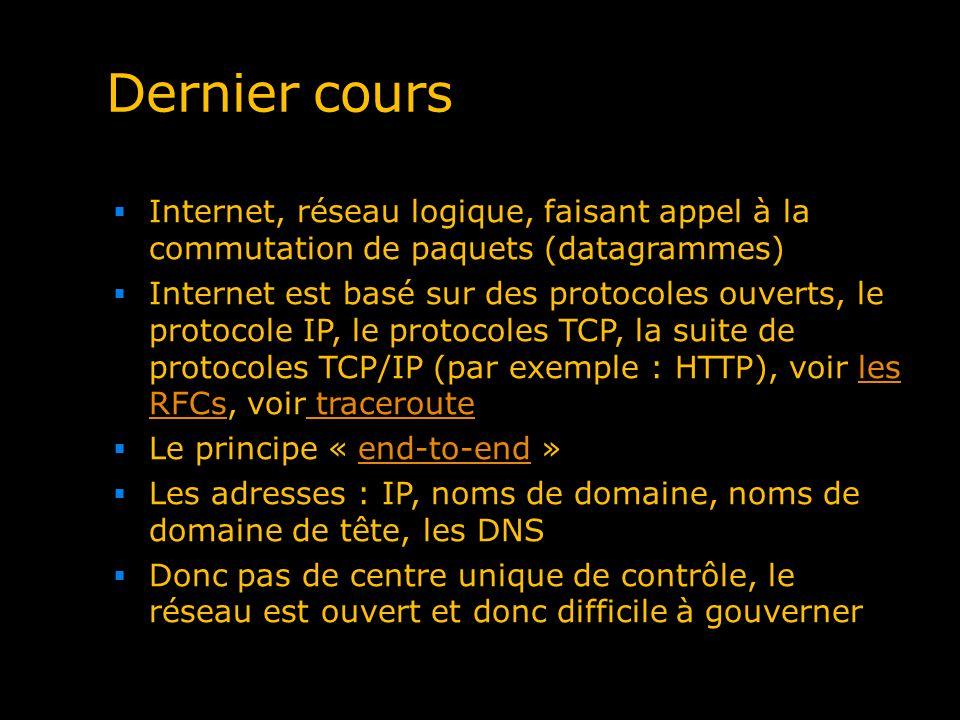 Dernier cours Internet, réseau logique, faisant appel à la commutation de paquets (datagrammes) Internet est basé sur des protocoles ouverts, le proto