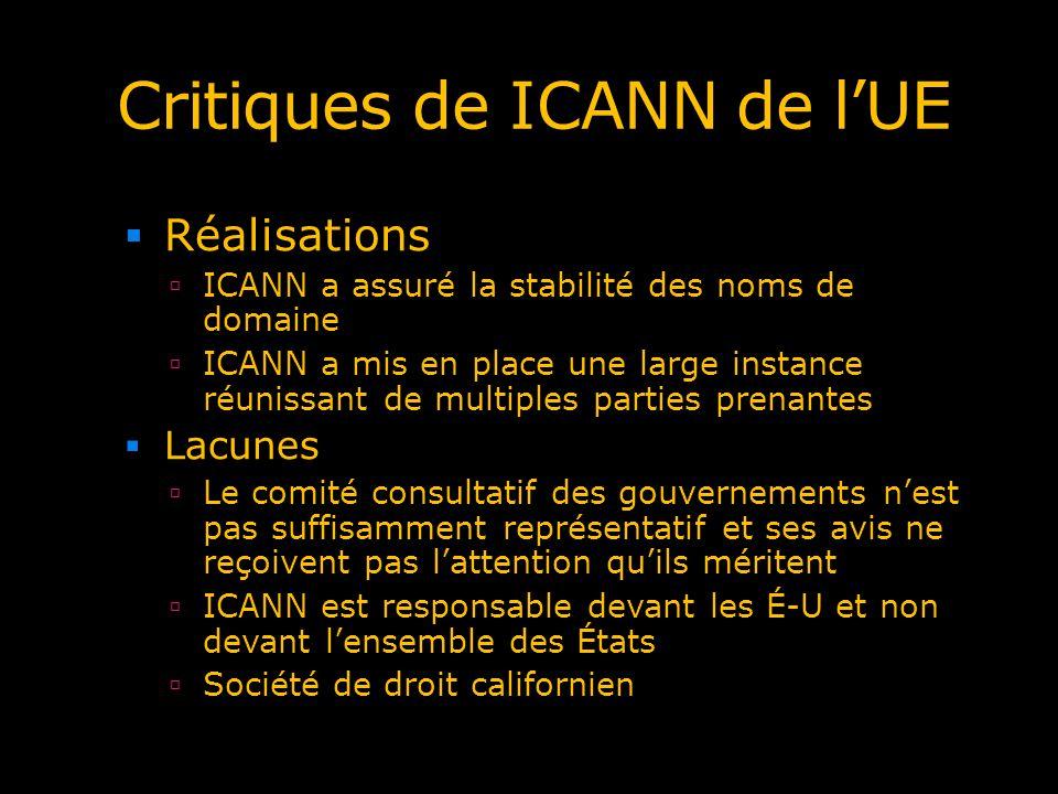 Critiques de ICANN de lUE Réalisations ICANN a assuré la stabilité des noms de domaine ICANN a mis en place une large instance réunissant de multiples