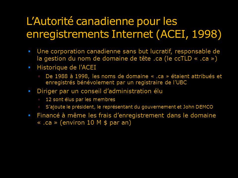 LAutorité canadienne pour les enregistrements Internet (ACEI, 1998) Une corporation canadienne sans but lucratif, responsable de la gestion du nom de