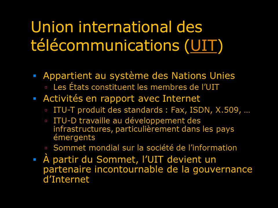 Union international des télécommunications (UIT)UIT Appartient au système des Nations Unies Les États constituent les membres de lUIT Activités en rap