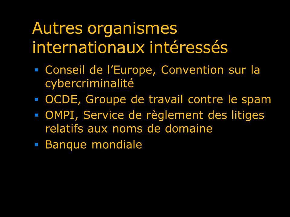 Autres organismes internationaux intéressés Conseil de lEurope, Convention sur la cybercriminalité OCDE, Groupe de travail contre le spam OMPI, Servic