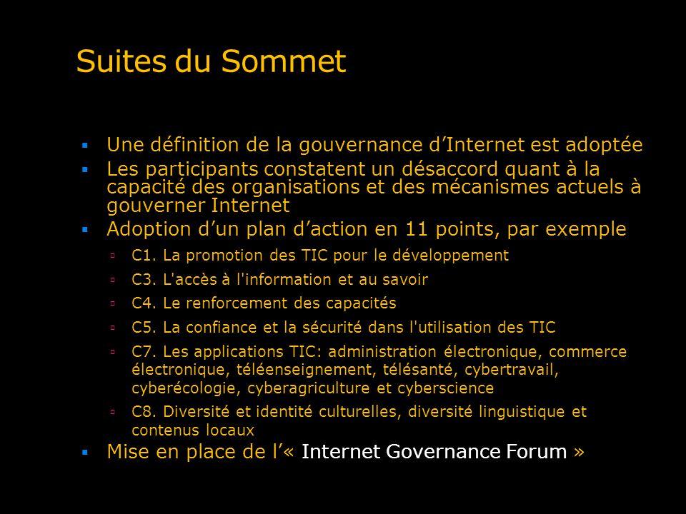 Suites du Sommet Une définition de la gouvernance dInternet est adoptée Les participants constatent un désaccord quant à la capacité des organisations