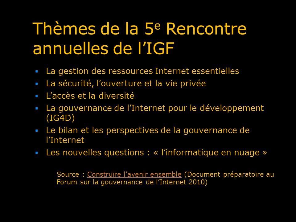 Thèmes de la 5 e Rencontre annuelles de lIGF La gestion des ressources Internet essentielles La sécurité, louverture et la vie privée Laccès et la div