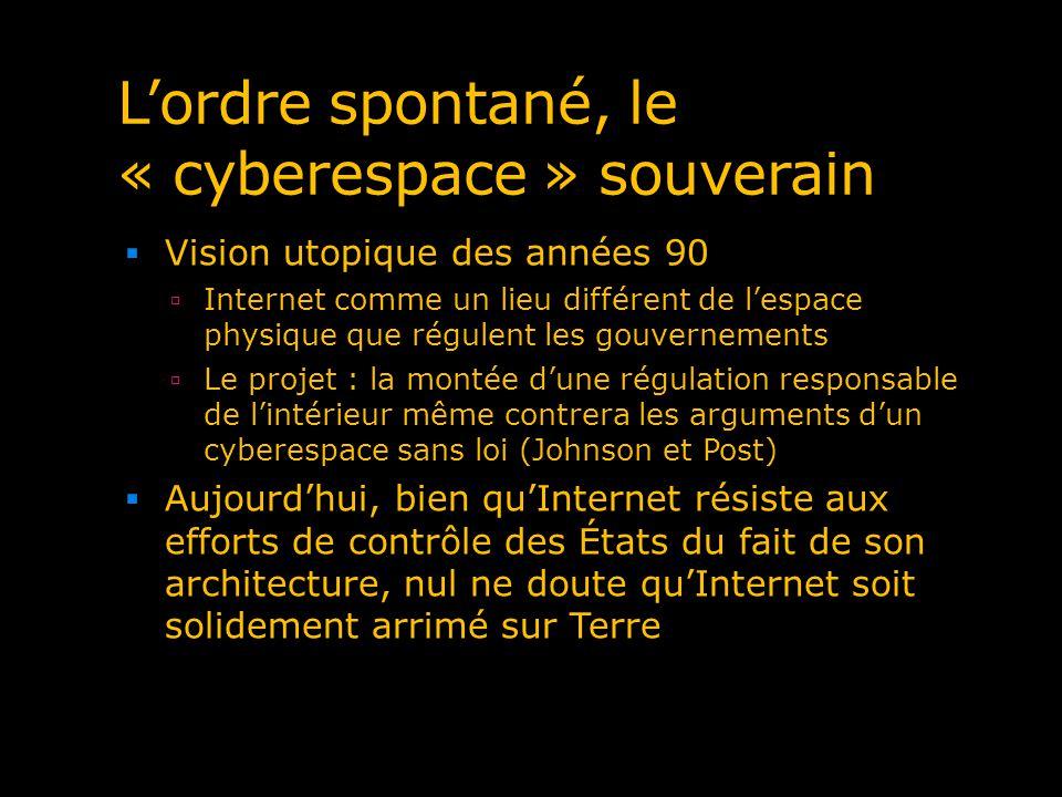 Lordre spontané, le « cyberespace » souverain Vision utopique des années 90 Internet comme un lieu différent de lespace physique que régulent les gouv