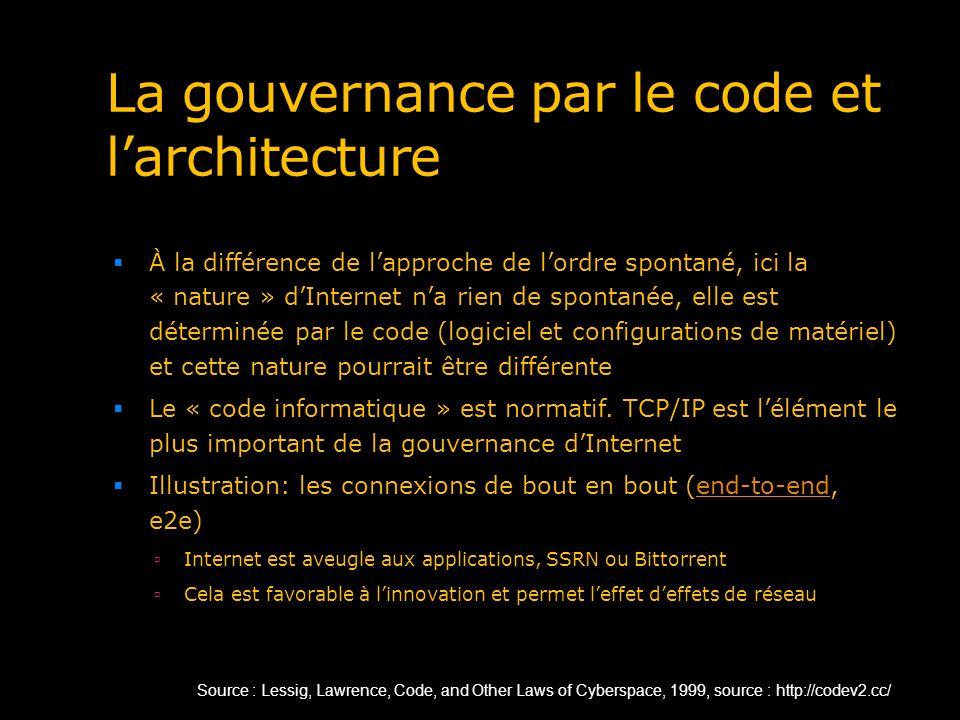La gouvernance par le code et larchitecture À la différence de lapproche de lordre spontané, ici la « nature » dInternet na rien de spontanée, elle es