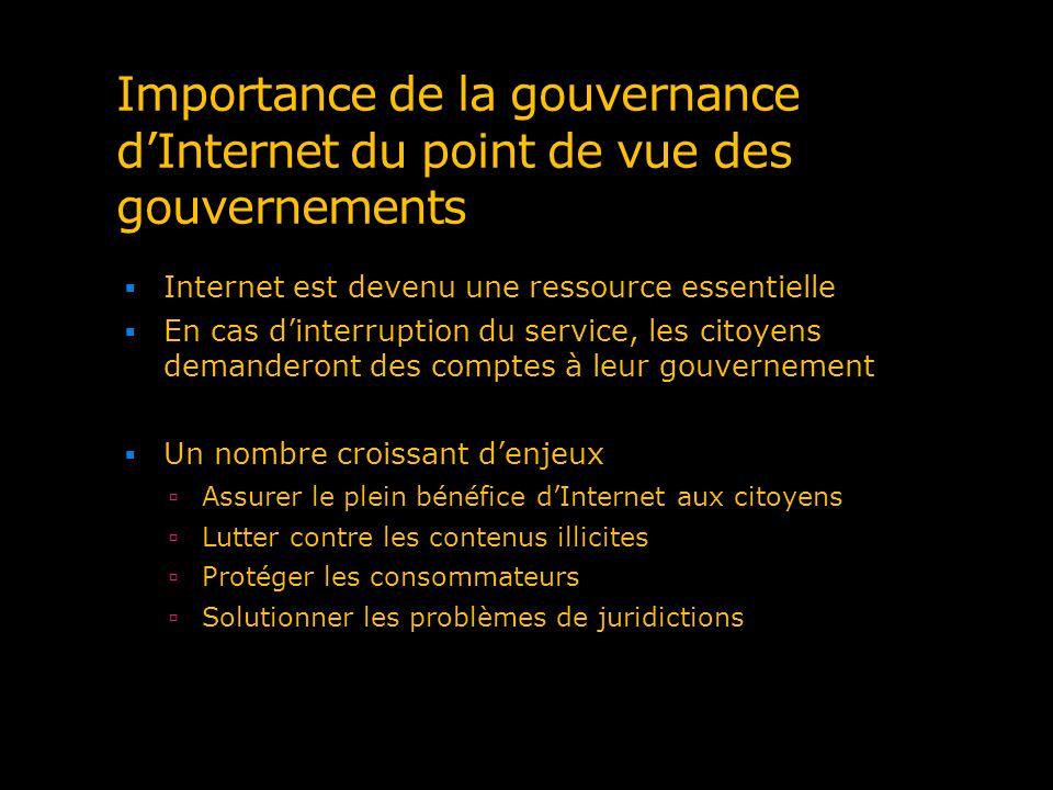Importance de la gouvernance dInternet du point de vue des gouvernements Internet est devenu une ressource essentielle En cas dinterruption du service