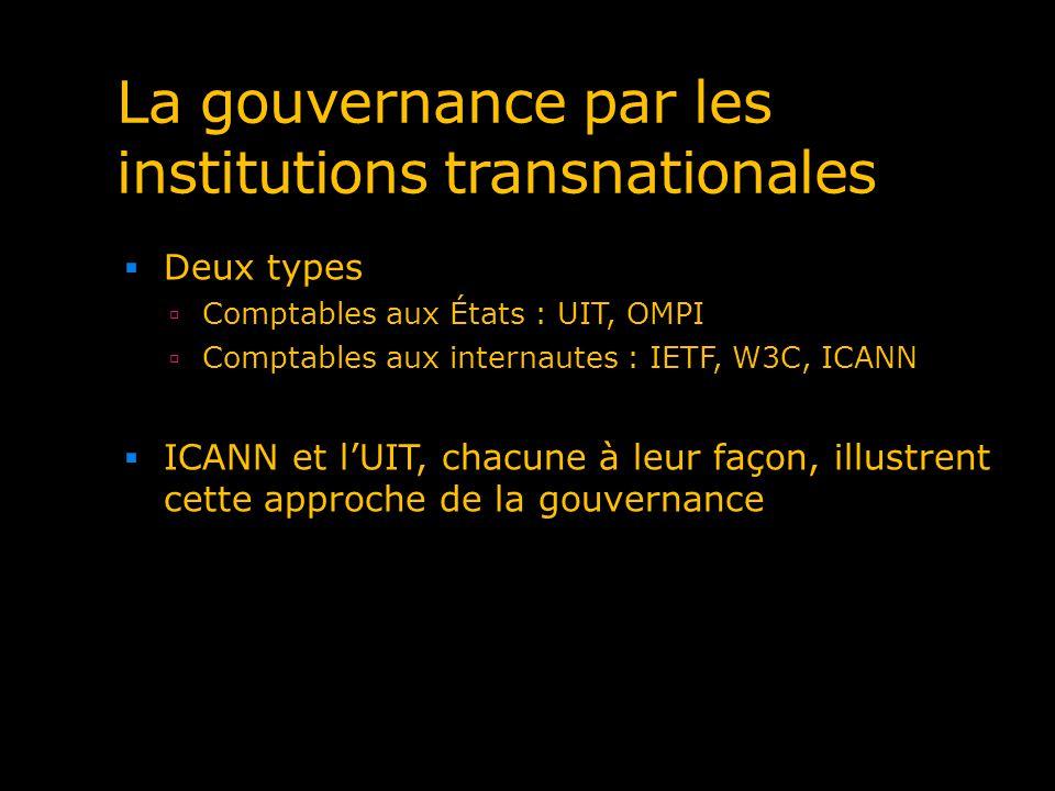 La gouvernance par les institutions transnationales Deux types Comptables aux États : UIT, OMPI Comptables aux internautes : IETF, W3C, ICANN ICANN et
