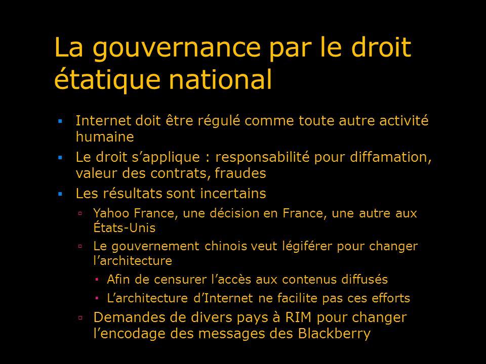 La gouvernance par le droit étatique national Internet doit être régulé comme toute autre activité humaine Le droit sapplique : responsabilité pour di