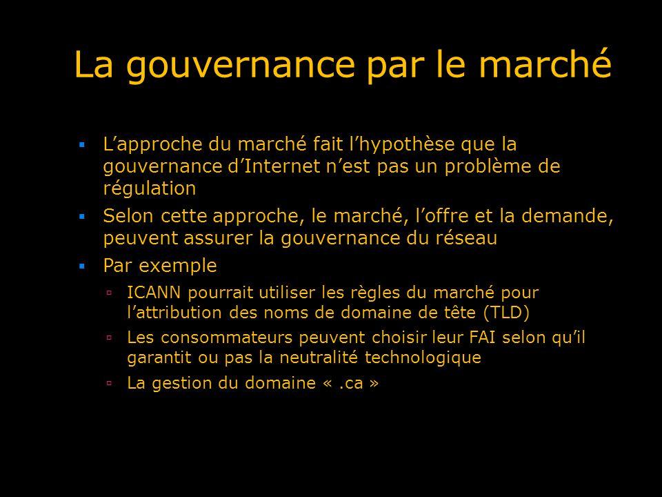 La gouvernance par le marché Lapproche du marché fait lhypothèse que la gouvernance dInternet nest pas un problème de régulation Selon cette approche,