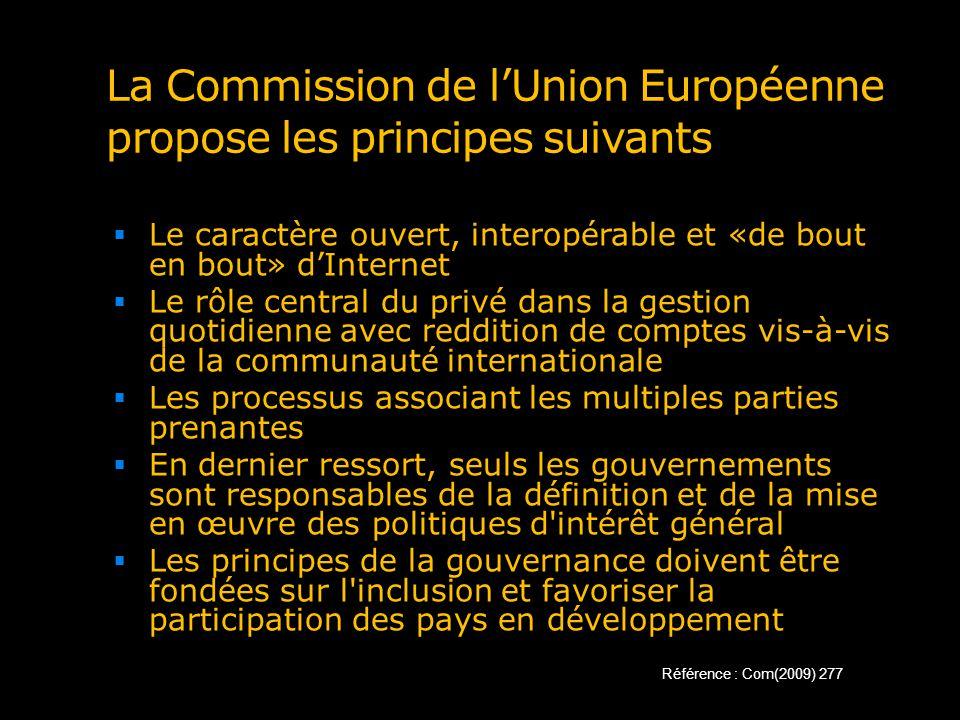 La Commission de lUnion Européenne propose les principes suivants Le caractère ouvert, interopérable et «de bout en bout» dInternet Le rôle central du