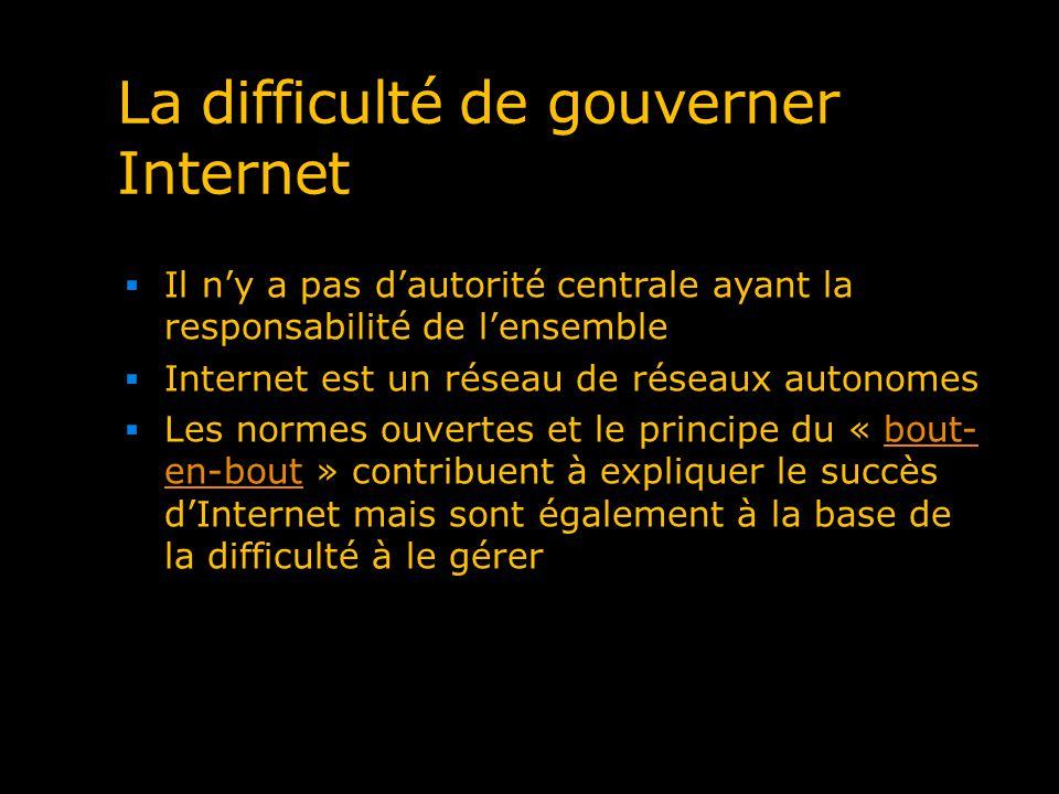La difficulté de gouverner Internet Il ny a pas dautorité centrale ayant la responsabilité de lensemble Internet est un réseau de réseaux autonomes Le