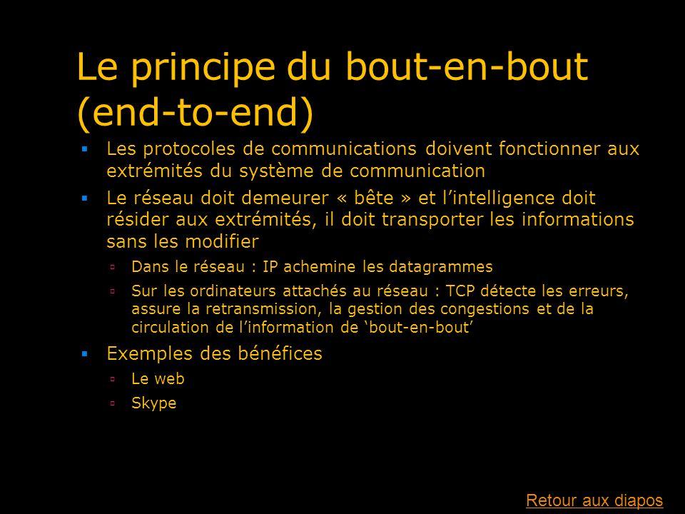 Le principe du bout-en-bout (end-to-end) Les protocoles de communications doivent fonctionner aux extrémités du système de communication Le réseau doi