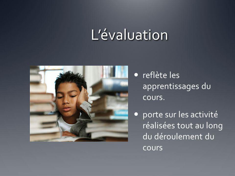 Lévaluation reflète les apprentissages du cours. porte sur les activité réalisées tout au long du déroulement du cours