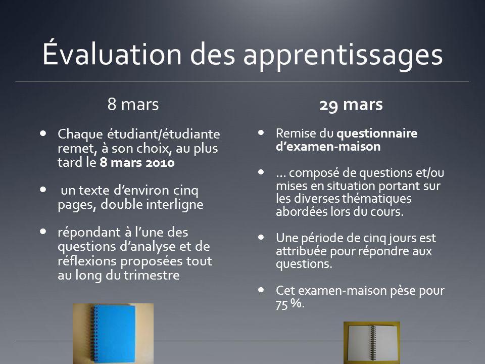 Évaluation des apprentissages 8 mars Chaque étudiant/étudiante remet, à son choix, au plus tard le 8 mars 2010 un texte denviron cinq pages, double in