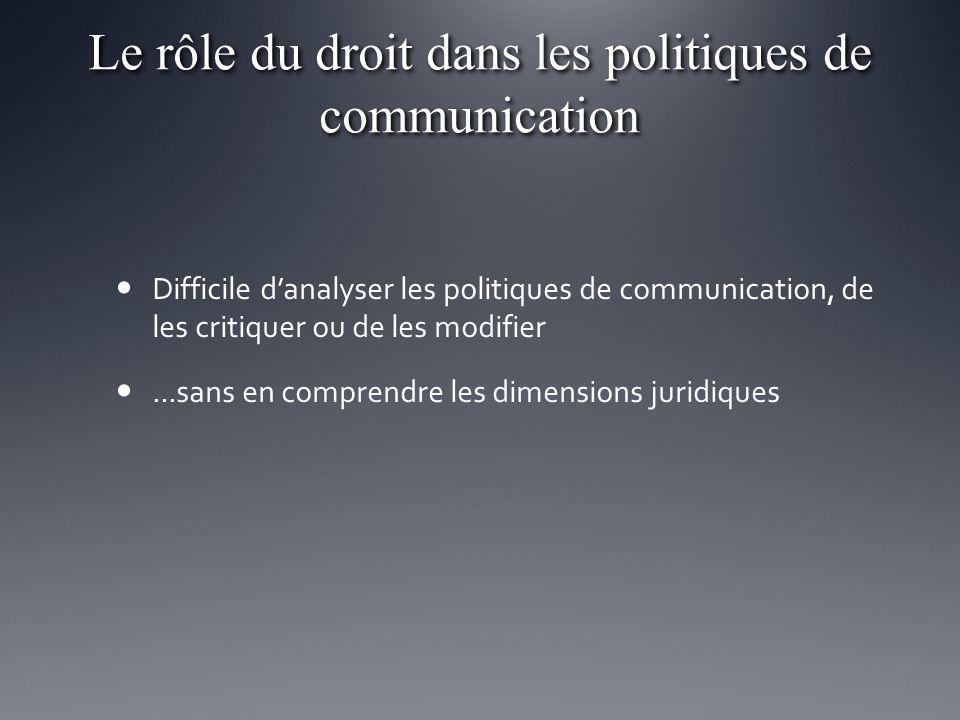 Le rôle du droit dans les politiques de communication Difficile danalyser les politiques de communication, de les critiquer ou de les modifier...sans