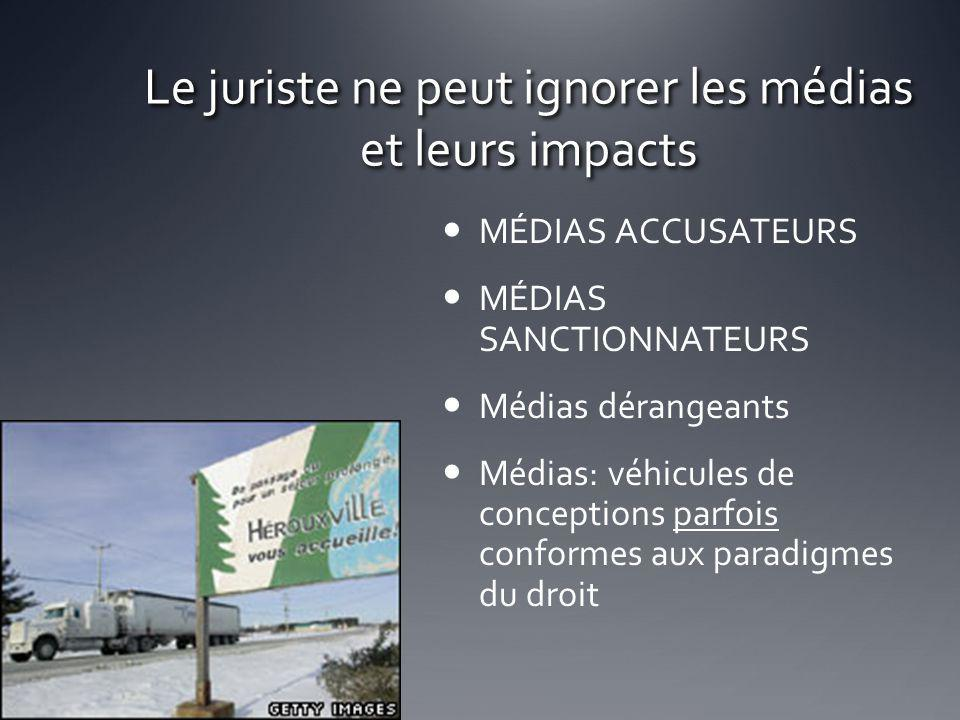 Le juriste ne peut ignorer les médias et leurs impacts MÉDIAS ACCUSATEURS MÉDIAS SANCTIONNATEURS Médias dérangeants Médias: véhicules de conceptions p