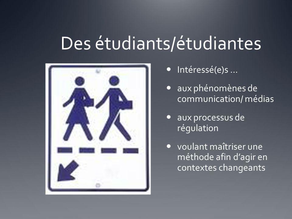 Des étudiants/étudiantes Intéressé(e)s … aux phénomènes de communication/ médias aux processus de régulation voulant maîtriser une méthode afin dagir